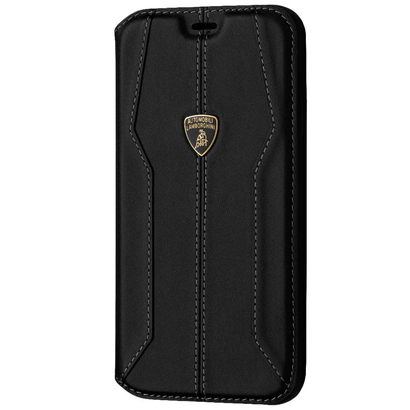 Husa iPhone 11 Pro Max Lamborghini Huracan D1 Genuine Leather Book - Negru