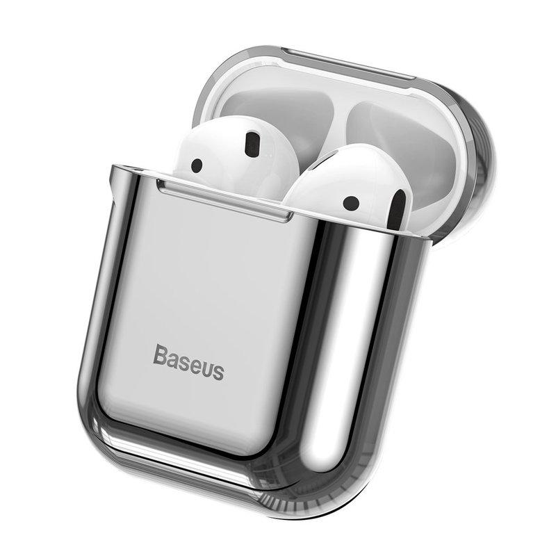 Husa Apple Airpods Baseus Shining Hook Cu Carabina Metalica De Prindere - ARAPPOD-A0S - Argintiu