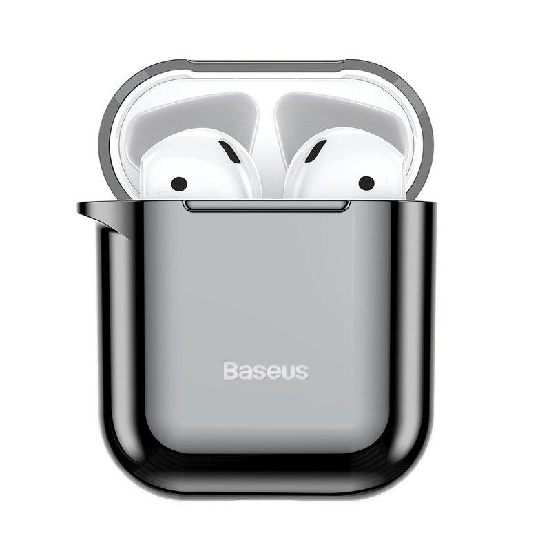 Husa Apple Airpods Baseus Shining Hook Cu Carabina Metalica De Prindere - ARAPPOD-A01 - Negru