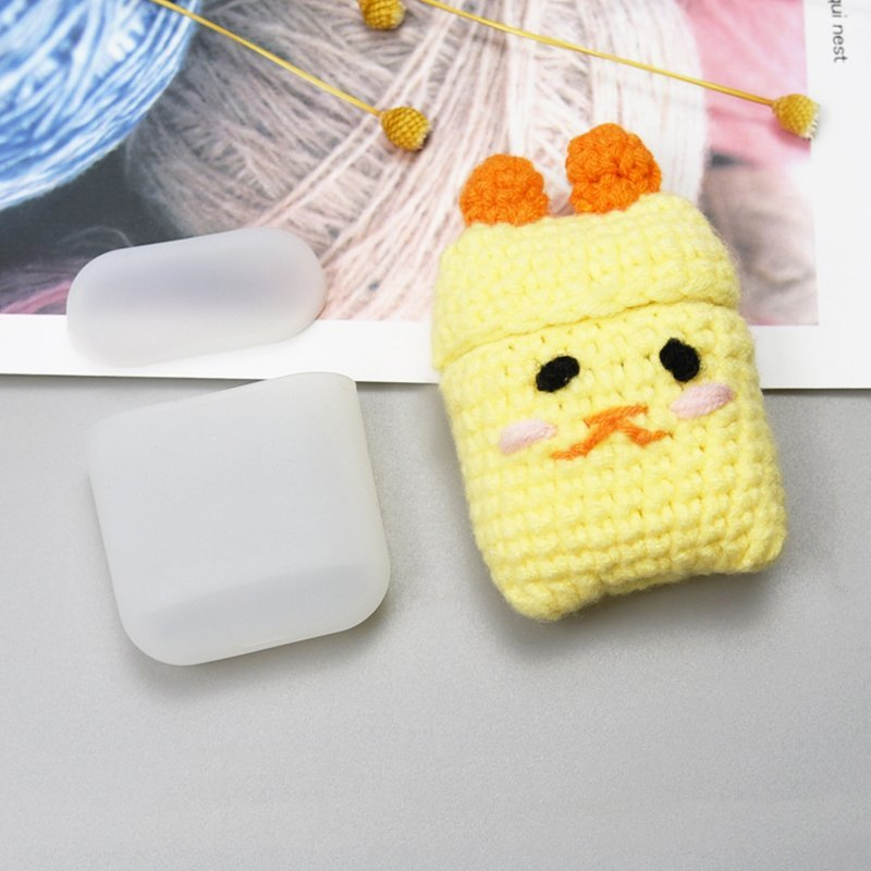 Husa Apple Airpods Din Silicon Cu Protectie Din Lana Tip Puisor - 7426825374561 - Galben