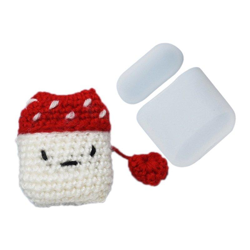 Husa Apple Airpods Din Silicon Cu Protectie Din Lana Tip Ciupercuta - 7426825374523 - Alb/Rosu