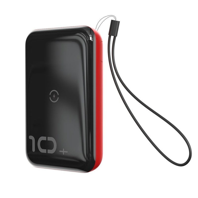 Baterie externa Baseus Mini S Bracket Power Bank 10000mAh 18W / Wireless Charger Qi 10W - Black/Red