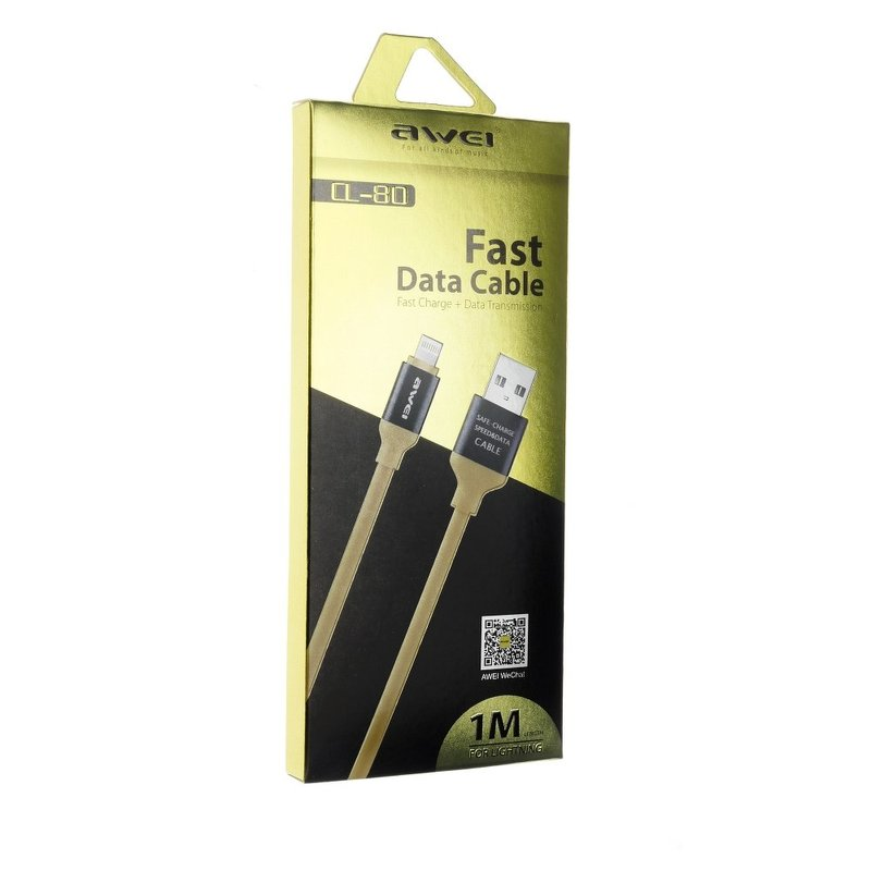 Cablu de date Awei CL-80 Fast Charge USB to Lightning 1M 2.1A - Galben