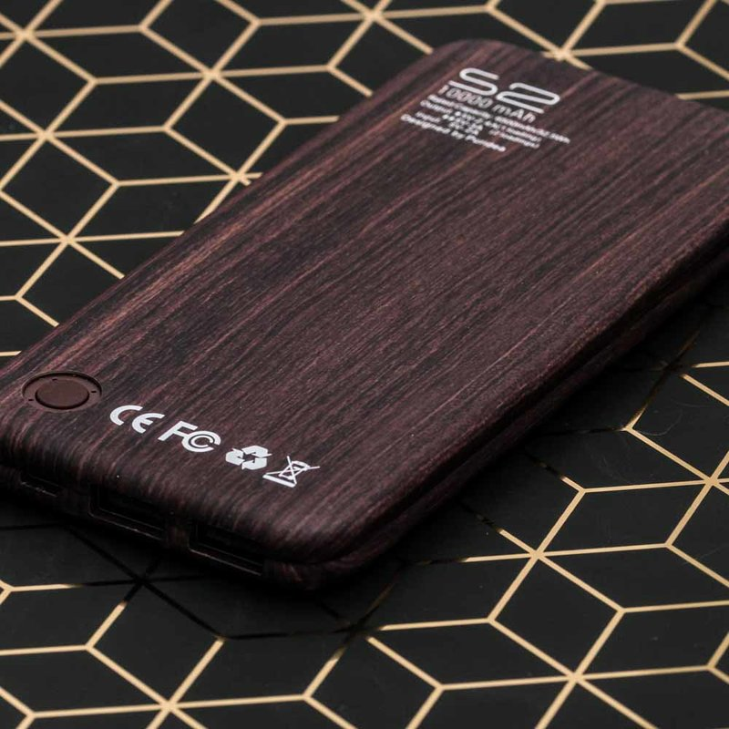 Baterie Externa Puridea S2 10000mAh 2xUSB - Dark Brown Wood Grain
