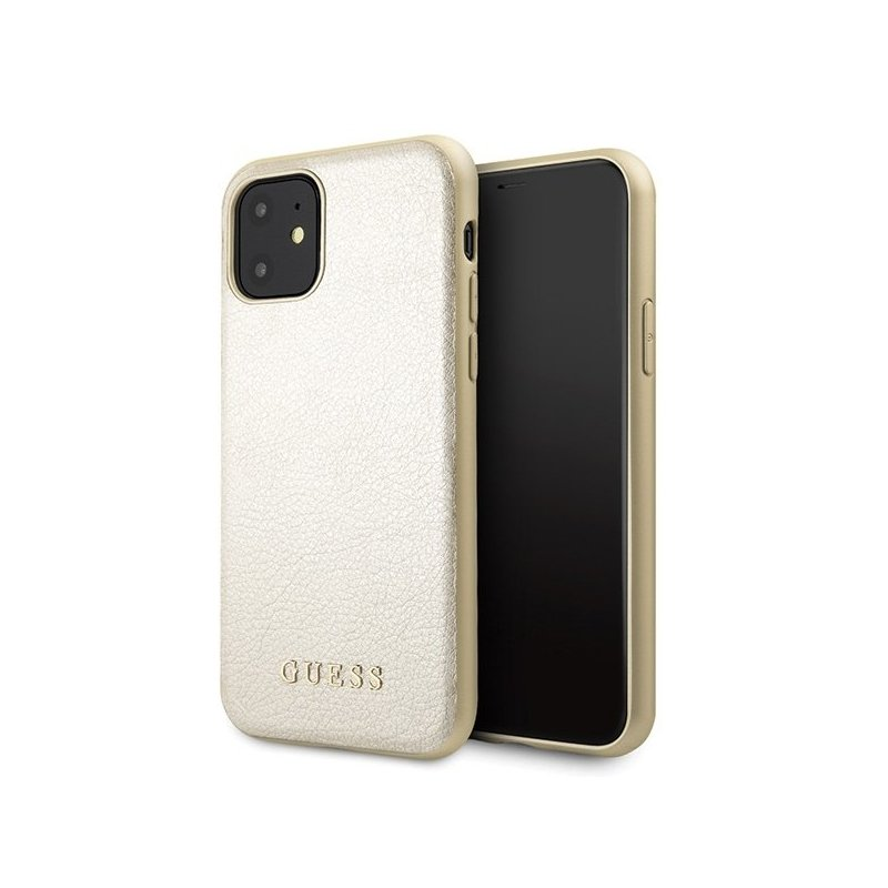 Husa iPhone 11 Guess Sintetic Leather Iridescent - Auriu