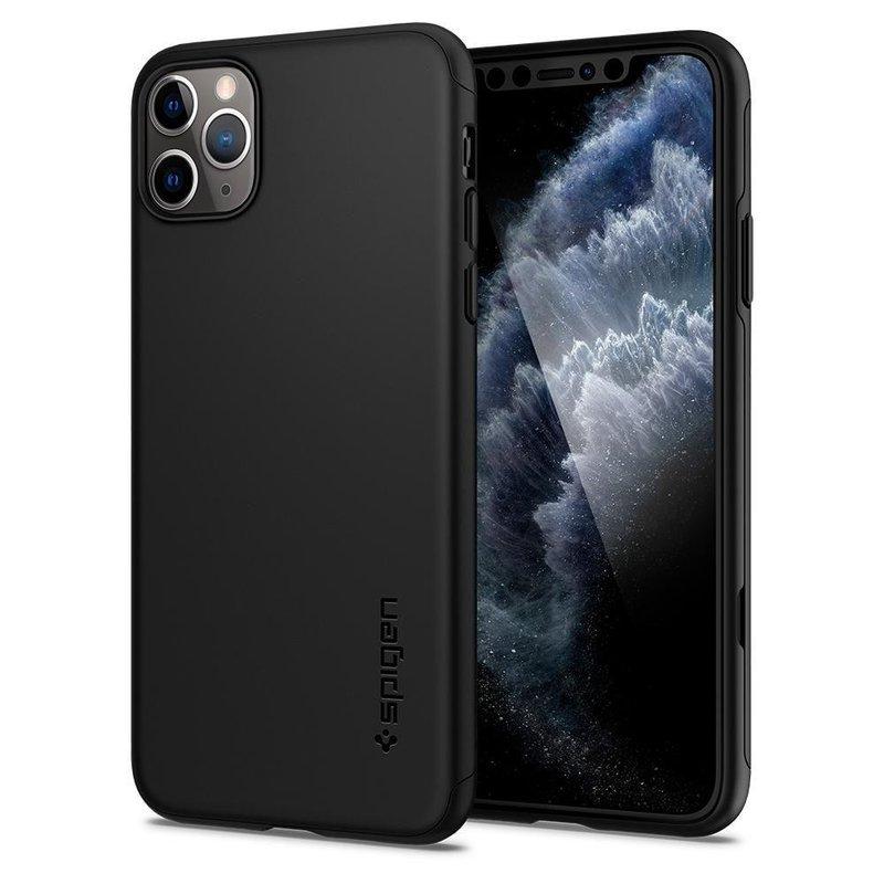 [PACHET 360°] Husa + Sticla iPhone 11 Pro Max Spigen Thin Fit - Negru