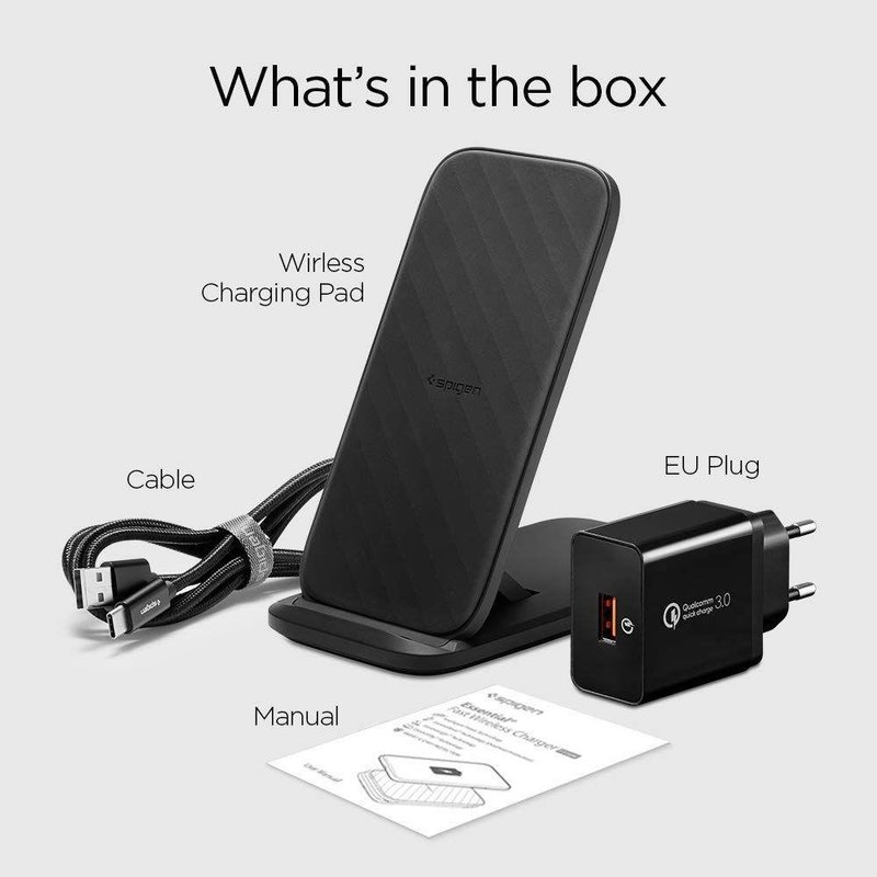 Incarcator Wireless Spigen F316W Essential Fast Charge With ControlHeat 15W - Negru