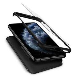 [PACHET 360°] Husa + Sticla iPhone 11 Pro Spigen Thin Fit - Negru