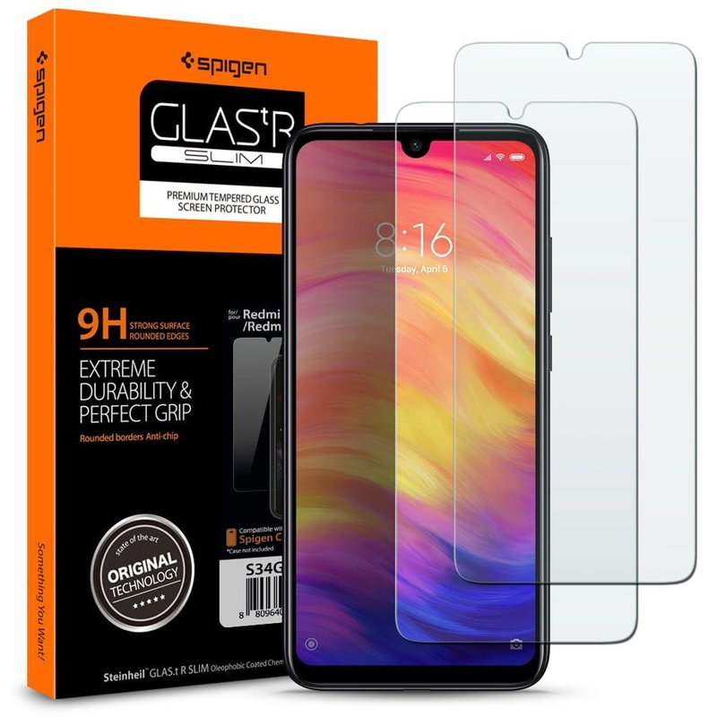 [Pachet 2x] Folie Protectie Xiaomi Redmi Note 7 Sticla Spigen GlassTR - Clear