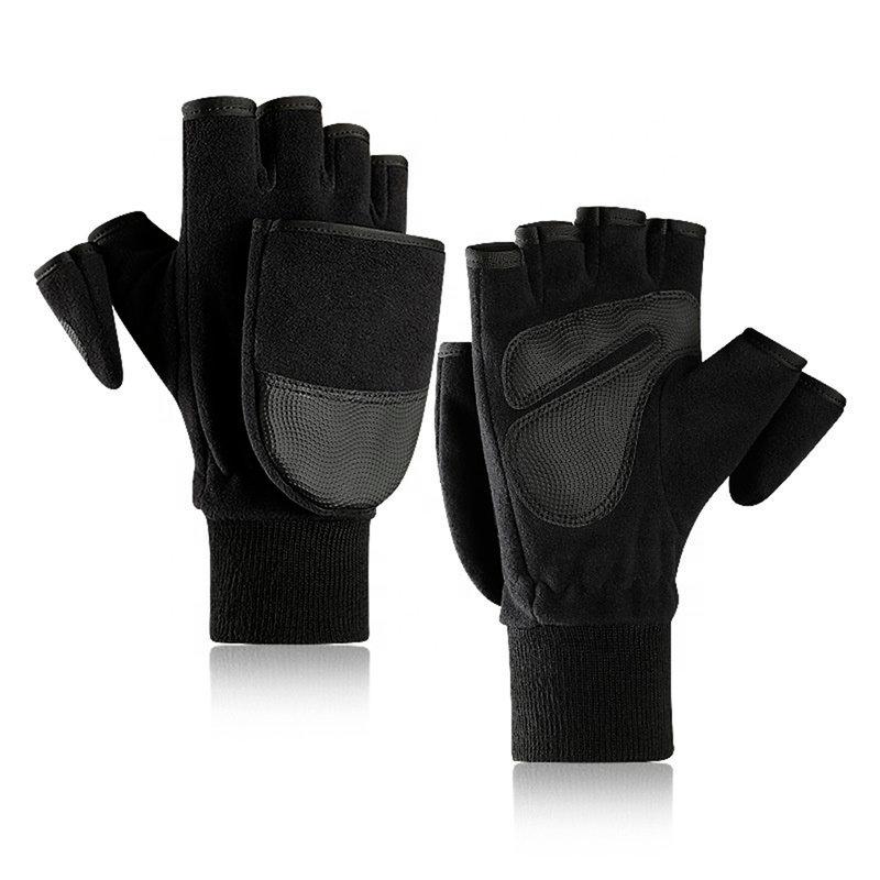 Manusi touchscreen unisex Fingerless Polar, poliester, marimea L, negru