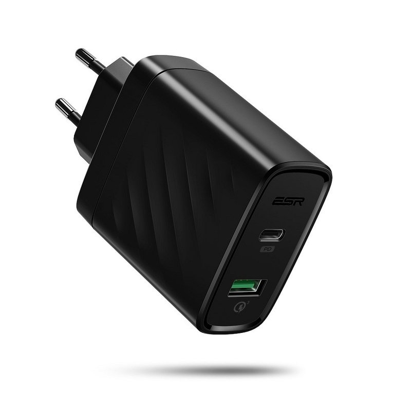 Incarcator Priza ESR 36W Power Delivery USB-C PD & USB QC 3.0 - EC1E - Negru