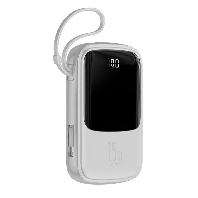Baterie externa Baseus Qpow Digital Display 10000 mAh Cu Cablu Lightning 15W 3A - PPQD-B02 - Alb