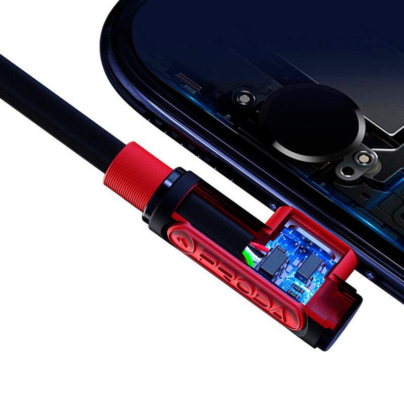 Cablu De Incarcare 3in1 Proda Sparta 2x Lightning / Type-C Cu viteza Mare De 5A 1m - PD-B11th - Negru/Rosu