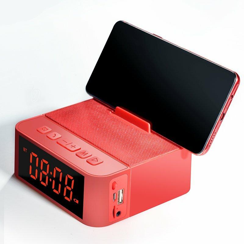 Boxa Portabila Bluetooth Dudao Y5 Multifunctional Alarm Clock, Phone Holder, Card Reader, Radio FM - Rosu