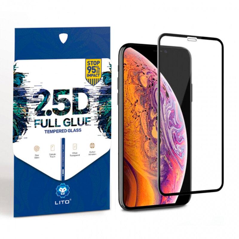 Folie Sticla iPhone 11 Pro Max Lito 2.5D Full Glue Full Cover Cu Rama - Negru