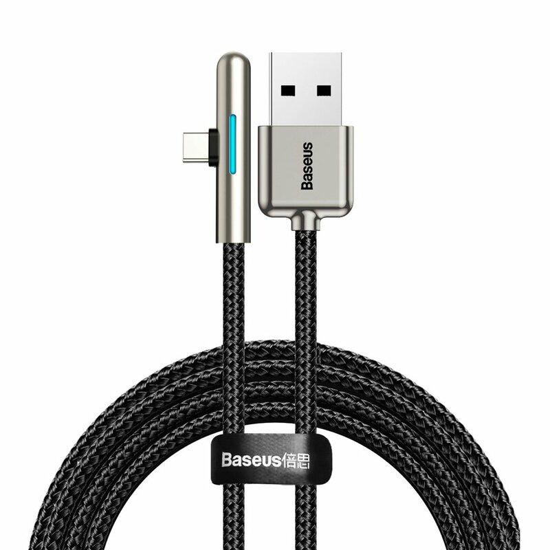 Cablu De Date Baseus Iridescent Lamp 90° Elbow USB To Type-C 4A 40W 1m - CAT7C-B01 - Negru