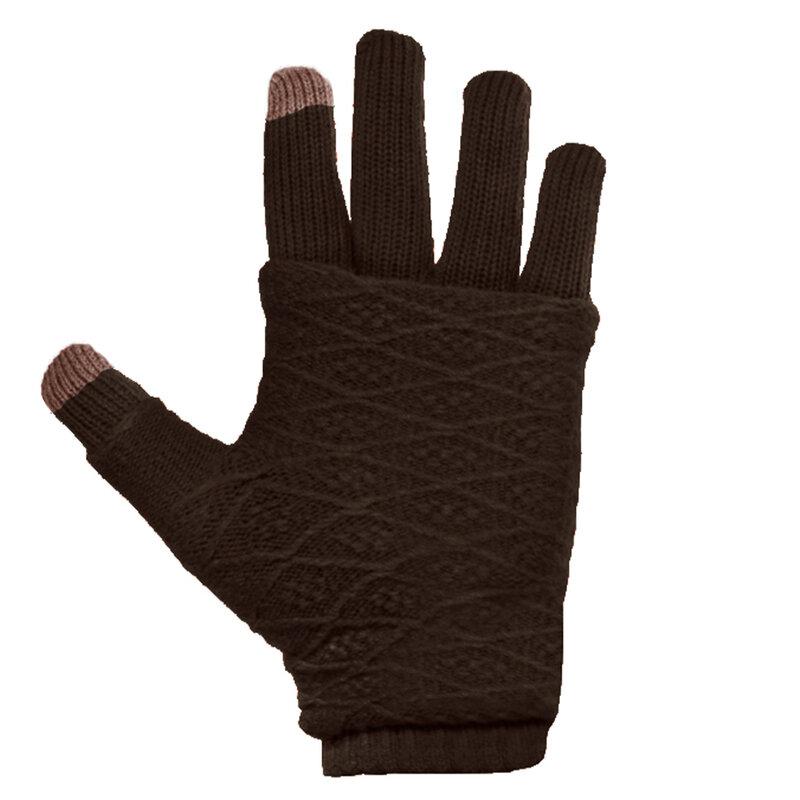 Manusi touchscreen dama, acrilic, maro