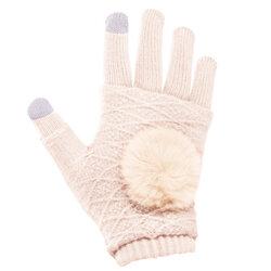 Manusi touchscreen dama, acrilic, alb