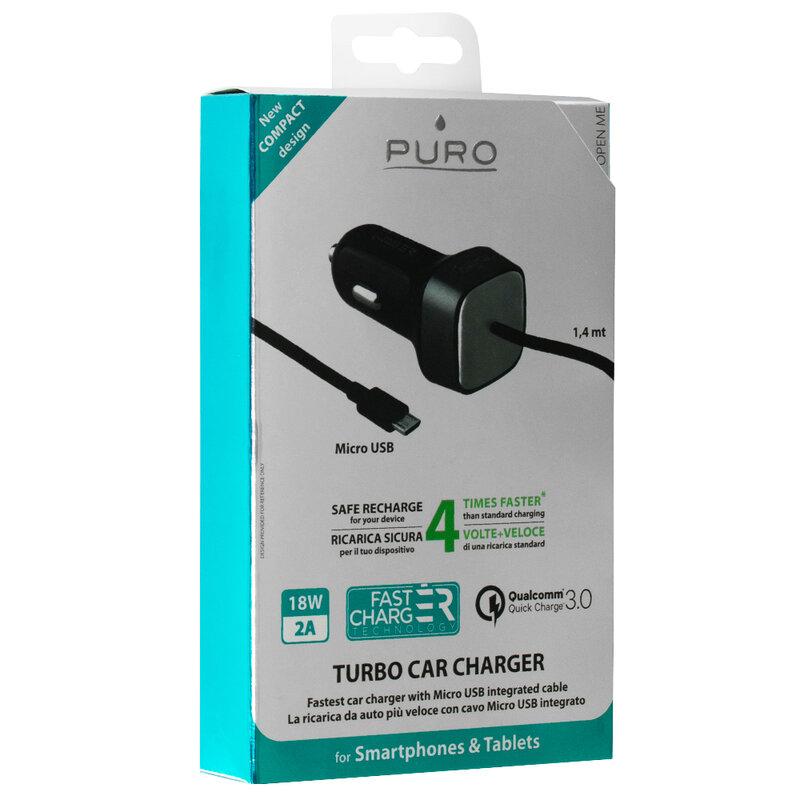 Incarcator Auto Puro Qualcomm Quick Charge 3.0 USB 2A - Negru