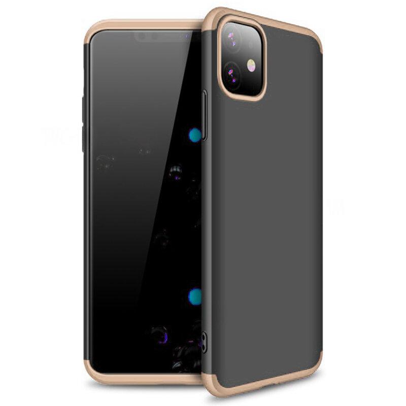 Husa iPhone 11 GKK 360 Full Cover Negru-Auriu