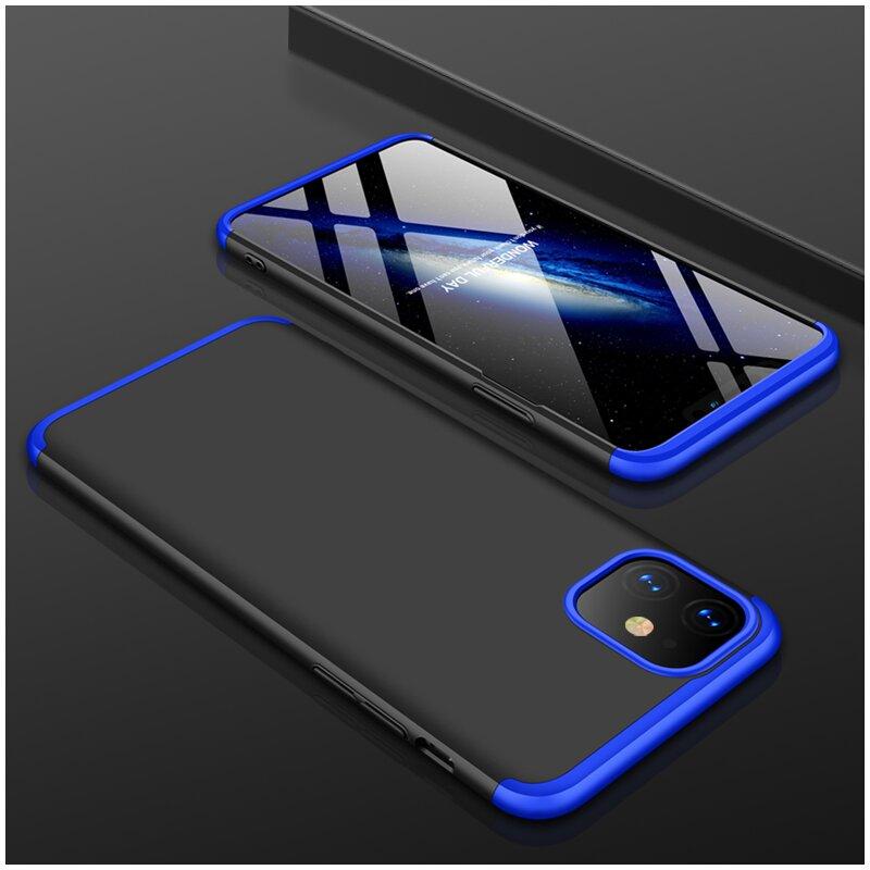 Husa iPhone 11 GKK 360 Full Cover Negru-Albastru