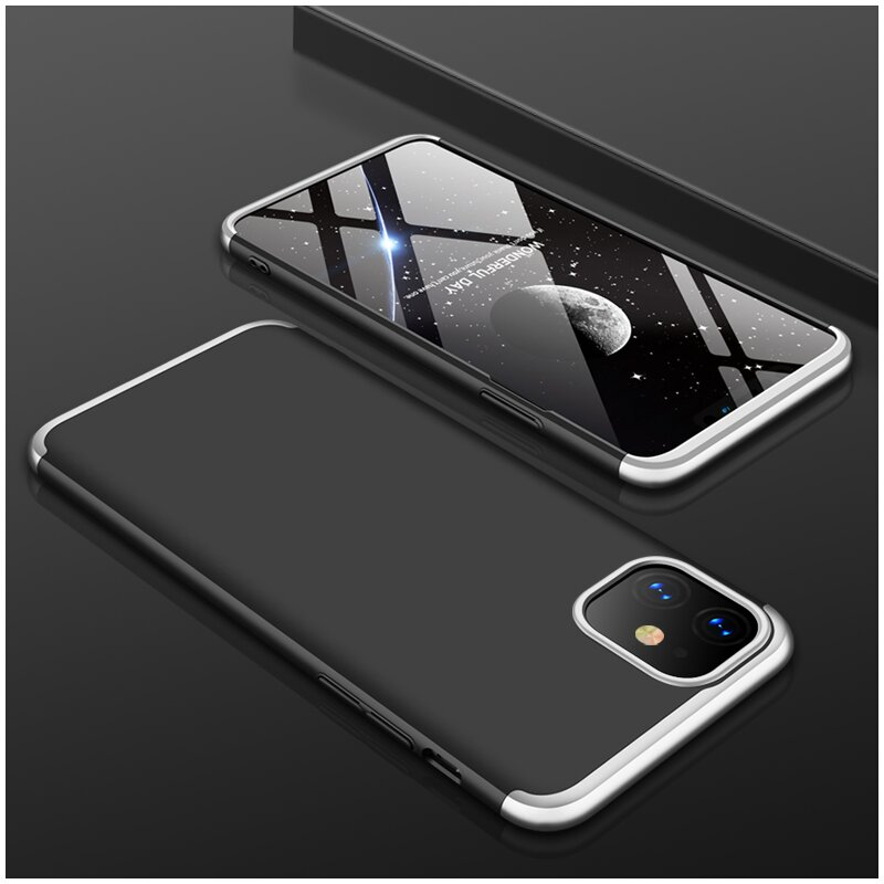 Husa iPhone 11 GKK 360 Full Cover Negru-Argintiu