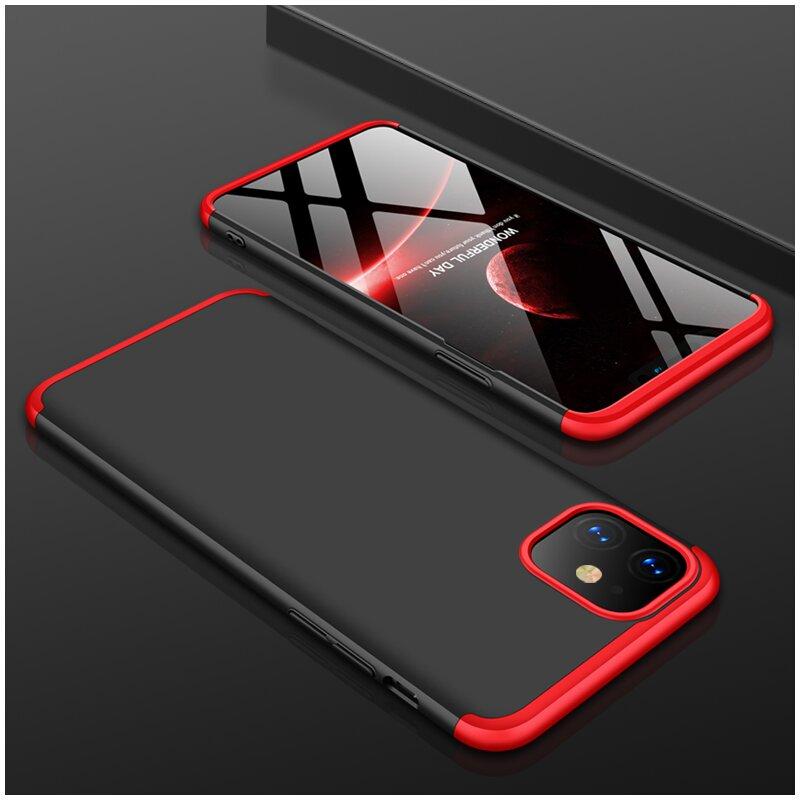 Husa iPhone 11 GKK 360 Full Cover Negru-Rosu