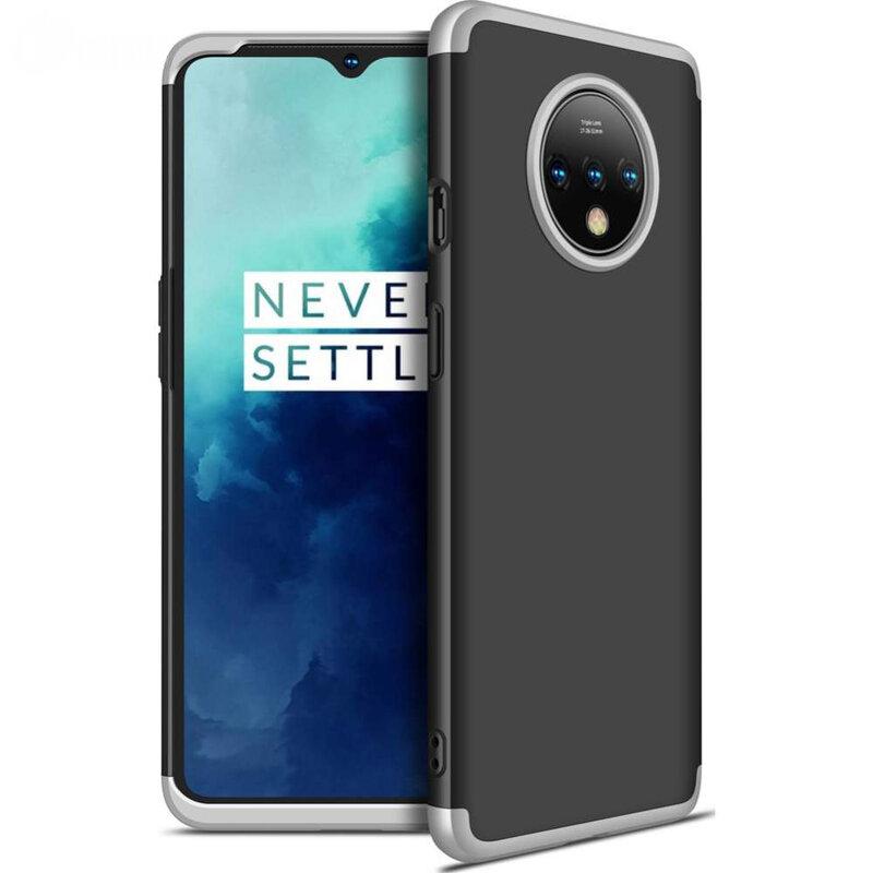 Husa OnePlus 7T GKK 360 Full Cover Negru-Argintiu