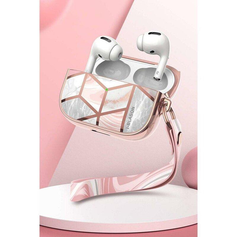 Husa Apple Airpods Pro i-Blason Cosmo Din Policarbonat Cu Curea de Prindere Pentru Mana - Marble
