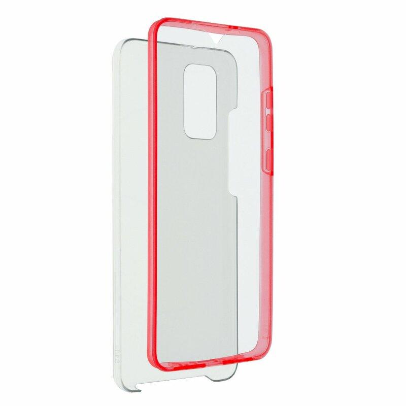 Husa Samsung Galaxy A51 FullCover 360 - Transparent Cu Margine Rosie