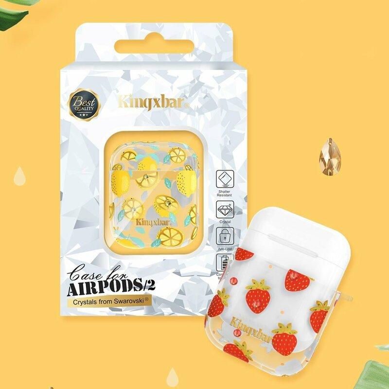Husa Apple Airpods Kingxbar Silicone Protective Box - Strawberry
