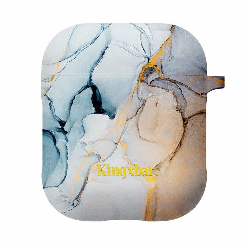 Husa Apple Airpods Kingxbar Silicone Protective Box - Yellow Marble