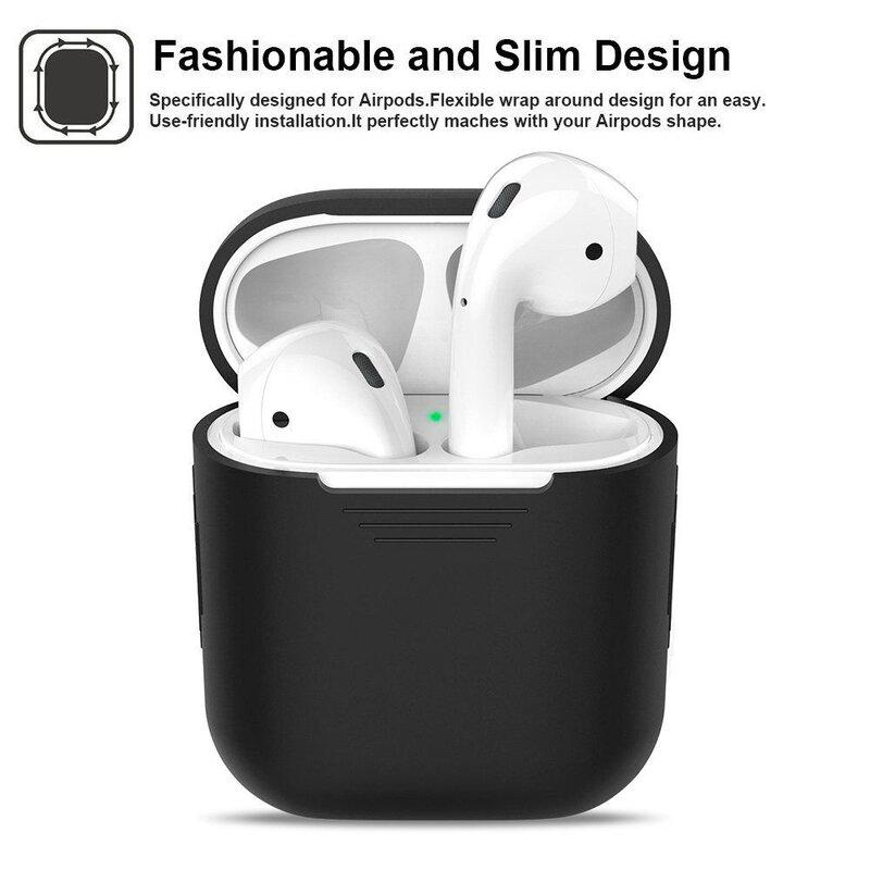 Husa Apple Airpods Tech-Protect Set Cu Suport Pentru Umeri Din Silicon - Negru