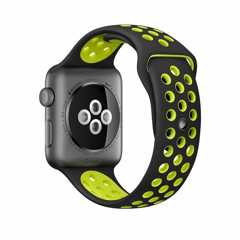 Curea Apple Watch 1 42mm Tech-Protect Softband - Black/Lime