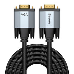 Cablu Video Convertor Baseus Enjoyment Bidirectional VGA to VGA Full HD 3M - CAKSX-V0G - Negru/Gri