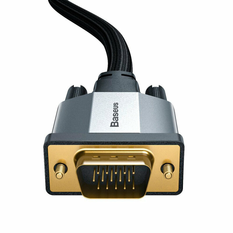 Cablu Video Convertor Baseus Enjoyment Bidirectional VGA to VGA Full HD 1M - CAKSX-T0G - Negru/Gri