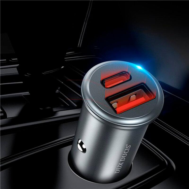 Incarcator Auto Dux Ducis B50 USB/Type-C + Cablu De Incarcare Type-C/Lightning 30W 5A - Argintiu