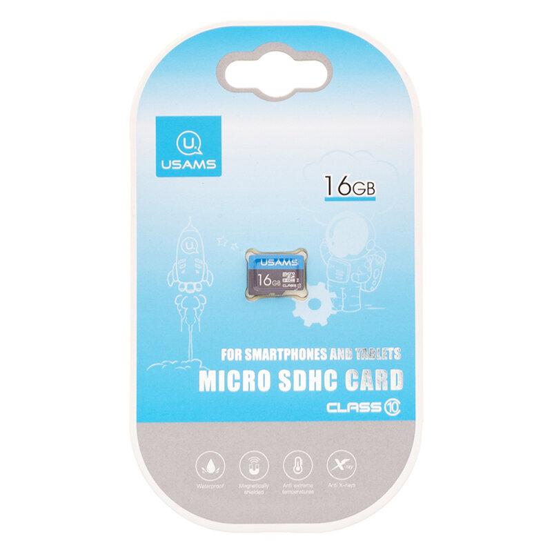Card De Memorie USAMS Micro SDHC 16GB Clasa 10 Pentru Telefoane Si Tablete - Negru/Albastru