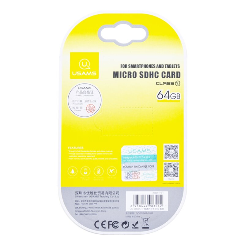 Card De Memorie USAMS Micro SDHC 64GB Clasa 10 Pentru Telefoane Si Tablete - Gri/Galben