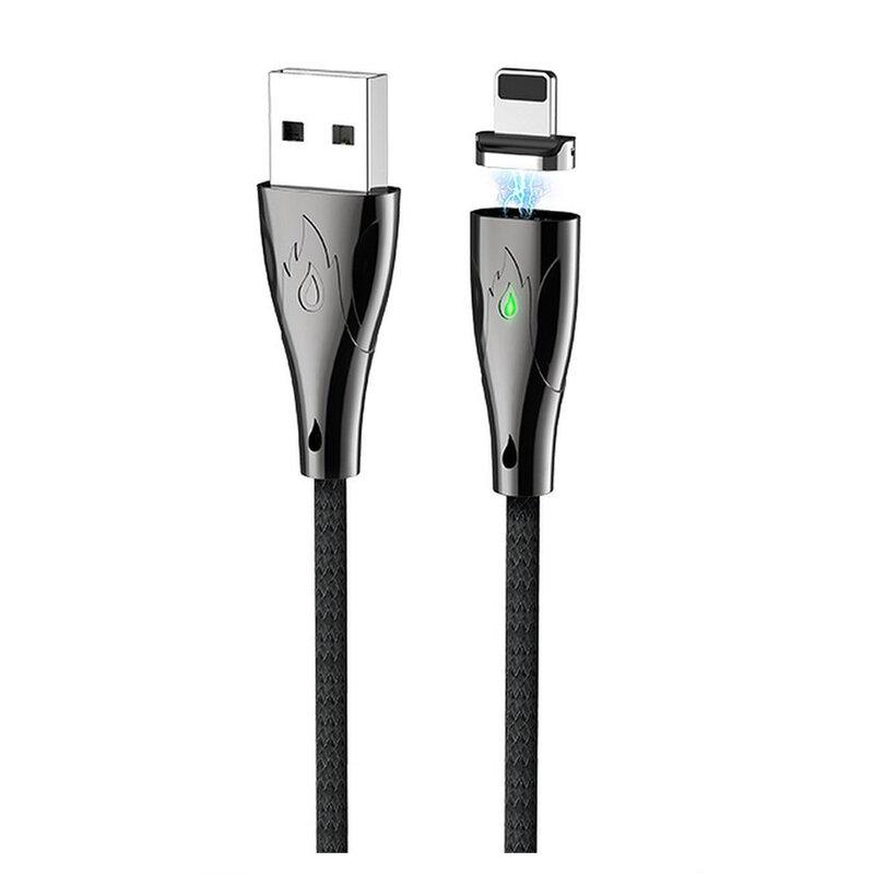 Cablu De Date Hoco U75 Magnetic USB To Lightning 3A 1.2m - Negru