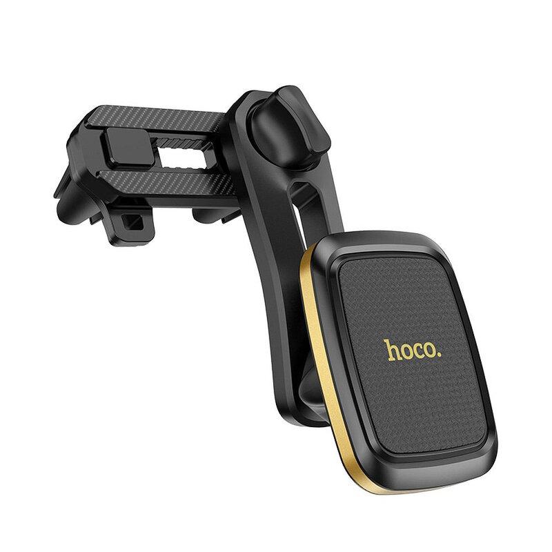 Suport Auto Magnetic Hoco CA57 Leader Double Pentru Grila de Ventilatie - Negru/Auriu