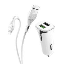 Incarcator Auto Hoco Z31 Universal Dual USB QC3.0 Cu Cablu De Incarcare USB/Lightning 18W 3.4A - Alb