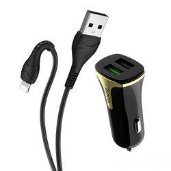 Incarcator Auto Hoco Z31 Universal Dual USB QC3.0 Cu Cablu De Incarcare USB/Lightning 18W 3.4A - Negru