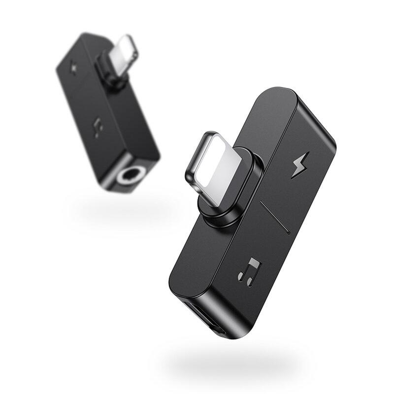 Adaptor USAMS AU12 From Lightning To Lightning & Jack 3.5mm Charging & Audio - US-SJ385 - Negru