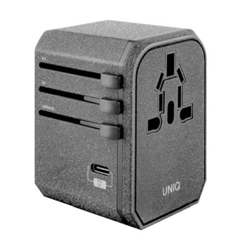 Incarcator Priza Uniq VoyagePD 18W 2xUSB/Type-C World Travel Universal Adapter EU/UK/USA/AUS - Gri