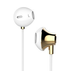 Casti In-Ear Cu Microfon USAMS Ejoy Series Fashional Metal Earphone 3.5mm - US-SJ022 - Alb/Auriu