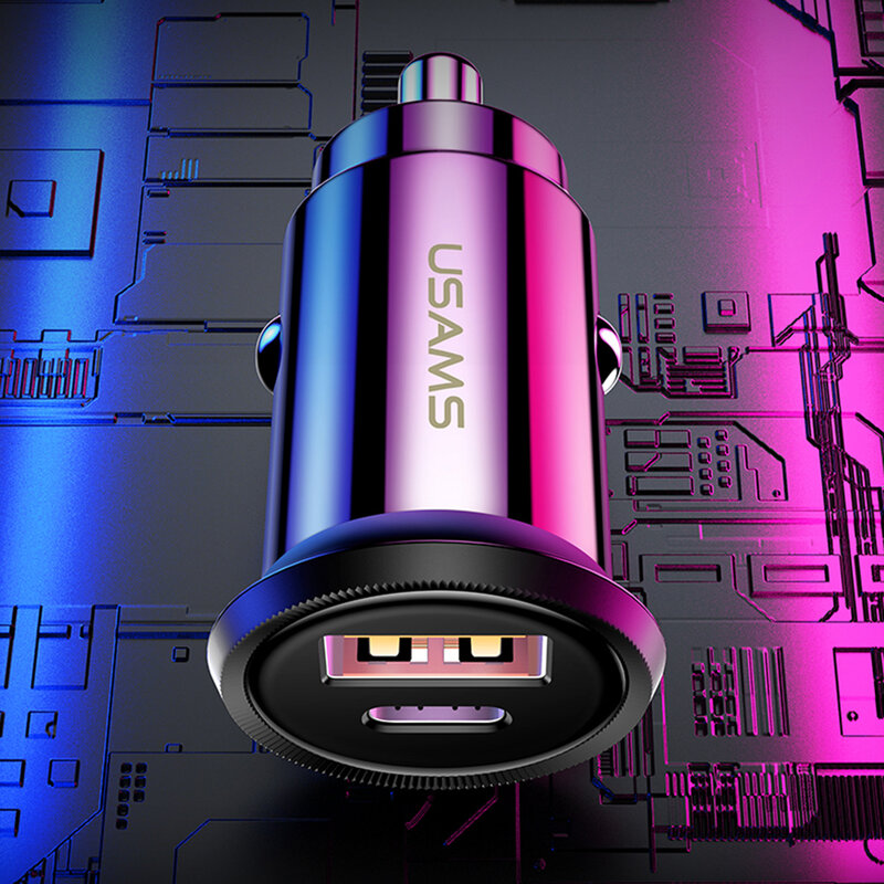 Incarcator Auto USAMS C12 USB QC4.0 + Type-C PD3.0 Fast Charging 8A - US-CC086 - Alb