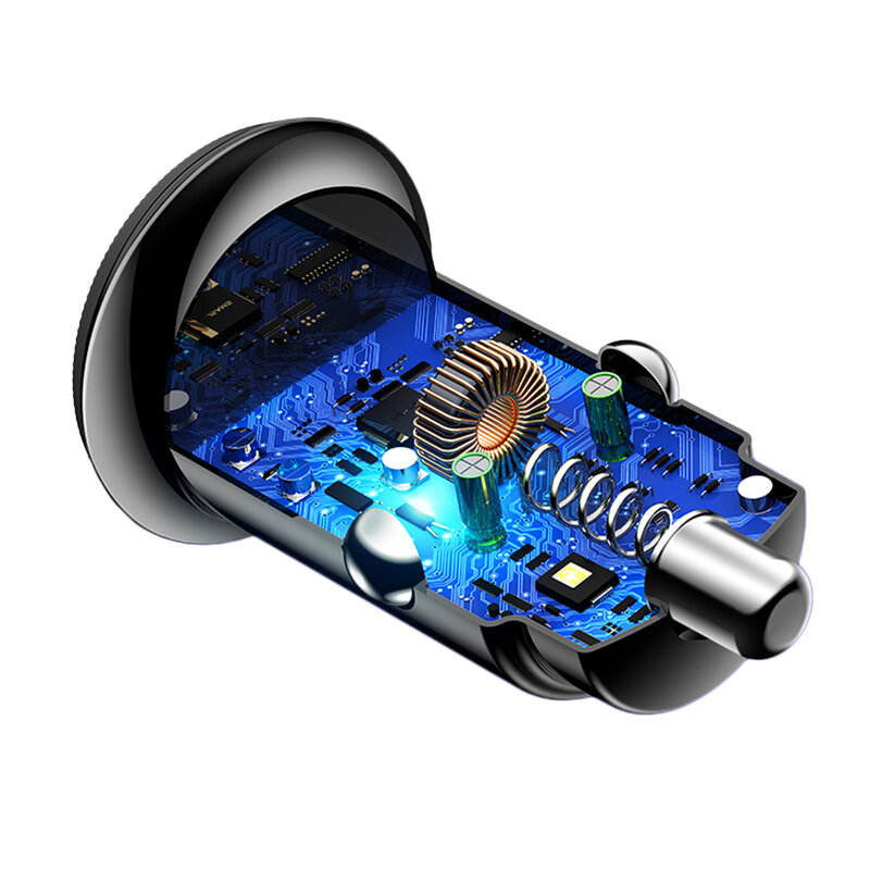 Incarcator Auto USAMS C12 USB QC4.0 + Type-C PD3.0 Fast Charging 8A - US-CC086 - Negru