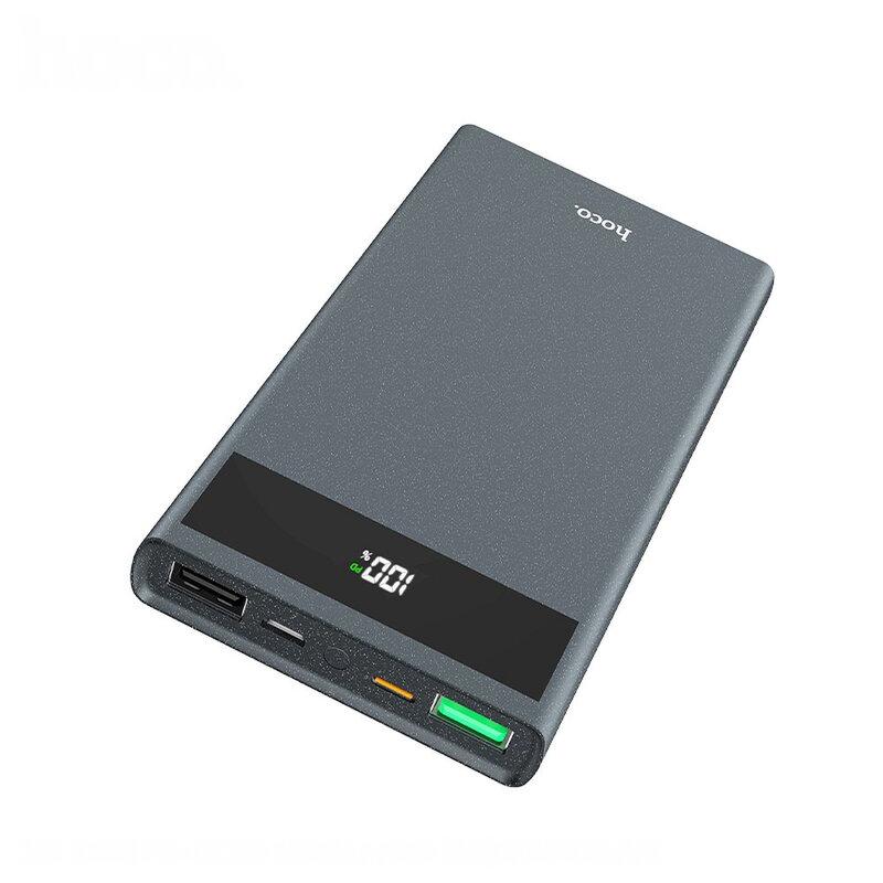 Baterie Externa Hoco J49 Dual USB/PD Type-C/Micro-USB Digital Display 10000mAh 18W QC3.0 - Gri