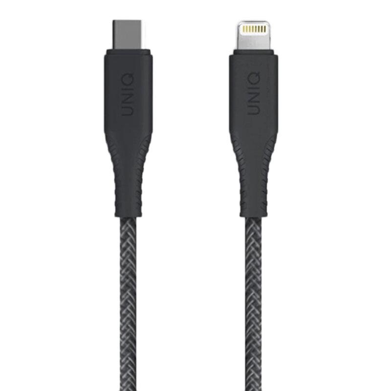 Cablu De Date Uniq Halo Tough Reinforced Type-C To Lightning Cu Organizator Pentru Cabluri 3A 18W - Negru